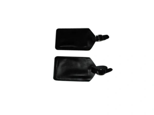 Luggage tag 3 piece black genuine leather fits standard business cards.