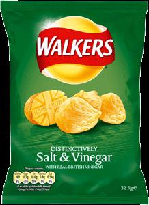 Case of Walkers Salt & vinegar (32.5g / 1.1oz) X 32