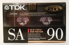 New TDK SA 90 High Bias Type II 90 Minute Audio Cassette Tape Blank Audio Cassette Tape