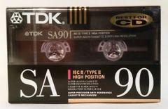New TDK SA 90 High Bias Type II 90 Minute Audio Cassette Tape Blank Audio Cassette Tape
