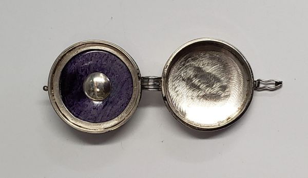Vintage Pill Box Locket Necklace Pendant Sugilite Sterling 925 Silver  Citrine Center