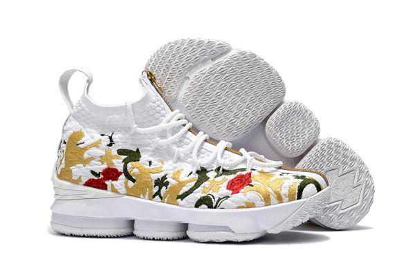 9ae00389c47ee 2018 Lebron XV White Floral Zip - Lebron James 15 NBA - Basketball sneakers