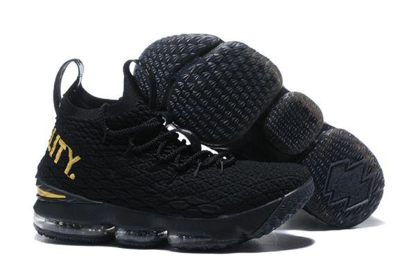 e35eeb6631a 2018 Lebron James XV Black Gold Quality- Basketball Black 15 Snea ...