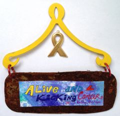Alive and Kicking Cancer Blue Mini Plaque
