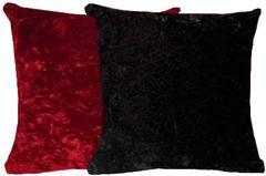 Black & Red Crush Velvet Pillow Set