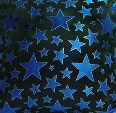 Metallic Blue Stars Fabric