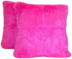 Large Hot Pink Checkered Pillow Set