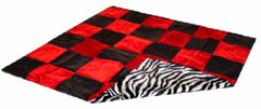 Black and Red Checkered Throw with Zebra Print