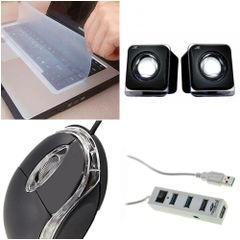 "Set of keyskin 15"", terabyte kubix E-02B speaker, Usb wired Mouse and usb 4 port hub"