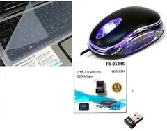 Terabyte 300Mbps wifi adapter, optical mouse, & keyskin computer accessories