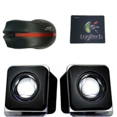 Set of Terabyte usb kubix speaker,logitech mouse pad and tb-mw-063 2.4G Black Wireless Mouse