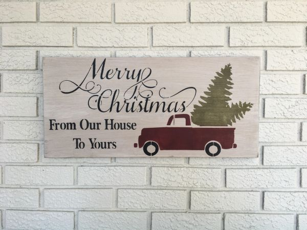 merry christmas from our house to yours rustic wood sign
