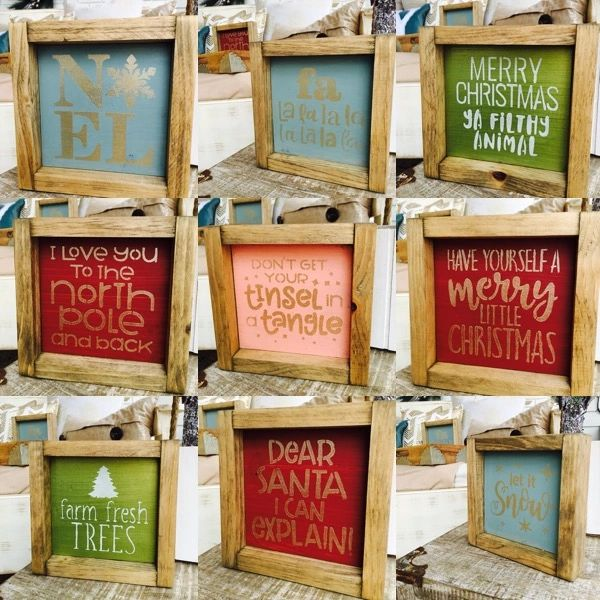 christmas mini signs minimum order of 3 required christmas decor framed - Christmas Decor Signs
