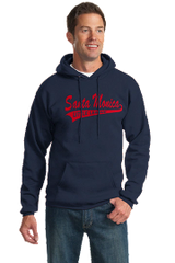 9 oz Pull over hoodie fleece with Santa Monica Little League on front and SMLL Logo on Sleeve