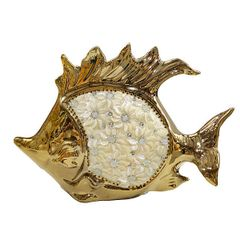 Fish Sculpture Ceramic Gold Plated with Rhinestones
