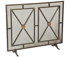 Fireplace Screen Iron w/ Rosettes & Panels
