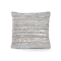 Textured Throw Pillow Metallic Modern
