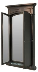 Mirror w/ Double Doors in Black Finish Shuttered