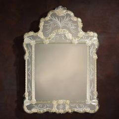 Venetian Glass Mirror Etched Rosettes