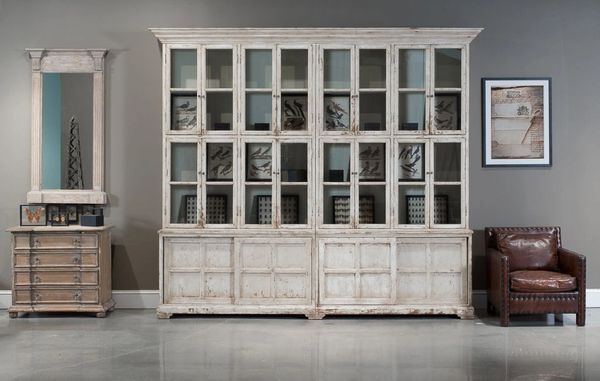 Farmhouse Bookcase Display Cabinet White Bravo Interiors