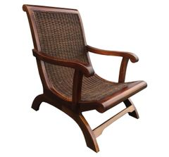 Wicker Chair Lounge Armchair Brown Wood
