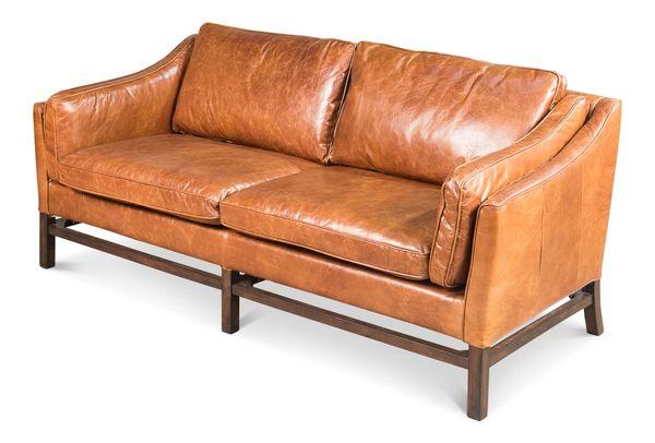 Cuba Brown Leather Sofa Traditional
