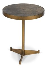 Gold Side Table Round with Leather Top