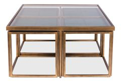Bunching Table with Stools in Brass