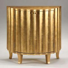 Fluted Cabinet Demilune Credenza Gold Leaf