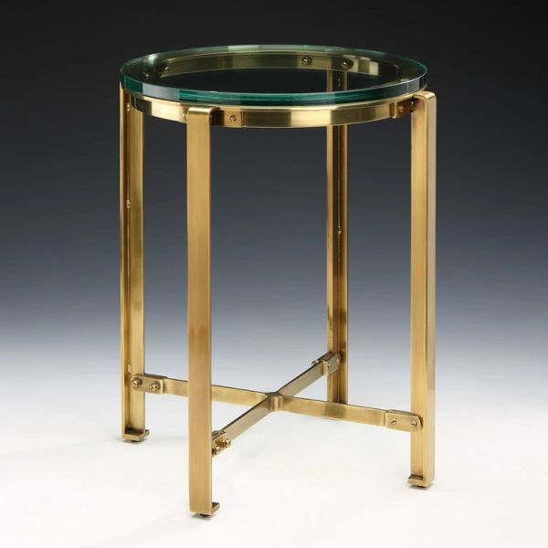 Industrial Side Table Glass Top Antique Brass Base Martelle