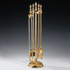 Fireplace Tool Set Antiqued solid Cast Brass
