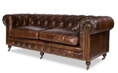 Caster Sofa Couch w/ Tufted Brown Leather