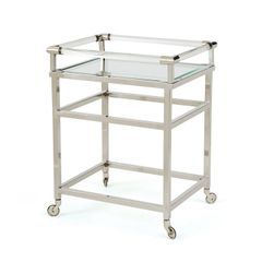 Modern Bar Cart in Silver Metal
