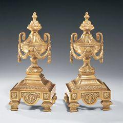 Solid Brass Andiron Set for Fireplace w/ Greek Key Motif Free Shipping