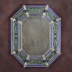 Antiqued Venetian Glass Mirror Colorful