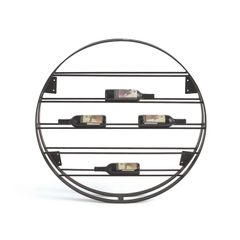 Round Wine Rack Modern Black Iron
