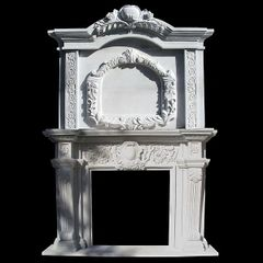 Mantel Solid Hand Carved White Marble