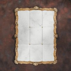 Panel Mirror with Pickled Walnut Frame