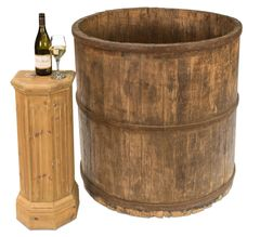 Antique Wine Barrel Elm Wood