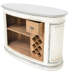 Zinc Top Bar w/ Walnut Wood & Wine Storage