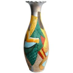 Floor Vase Picasso Inspired Colorful Surreal