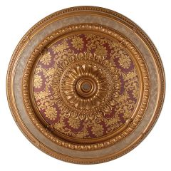 "Red Ceiling Medallion Round w/ Gold Accent 47"" Dia"
