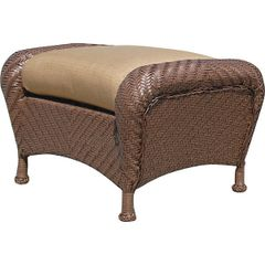 Outdoor Ottoman Woven with Tan Upholstery