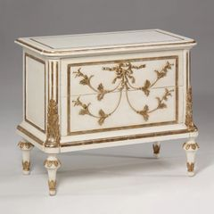 French Chest Neoclassic White Metal Leaf Wood