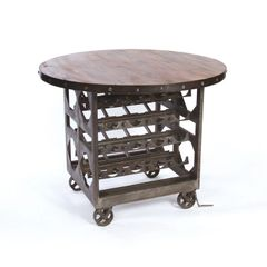Wine Cellar Table Storage Free Ship Steel Reclaimed Wood
