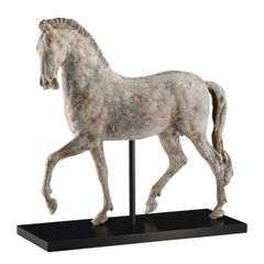 Ceramic Horse Statue Sculpture with Black Wood Stand Ships Free