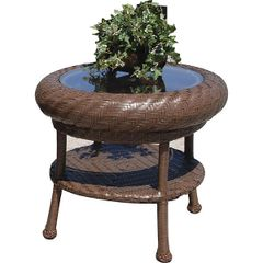 Outdoor Side Table Woven Blue Inset