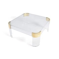 Acrylic Coffee Table Ghost Modern with Brass
