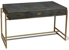 Desk Gray Leather Shagreen Iron Antique Gold Finish
