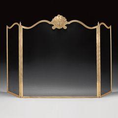 Fireplace Screen Venetian Shell Motif Brass